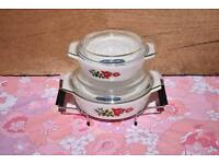 Pyrex JAJ June Rose set of 2 Casserole Dishes & Cradle