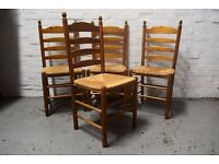 Four ladder back chairs (DELIVERY AVAILABLE)