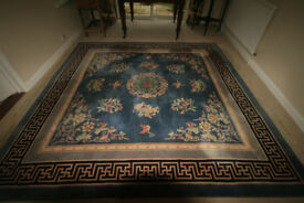 Blue chinese rug, 8ft square with beautiful floral pattern and Greek key border.
