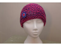 Brand New Handmade Knitted Hat by Laurie-Anne, Pink and Purple mix.