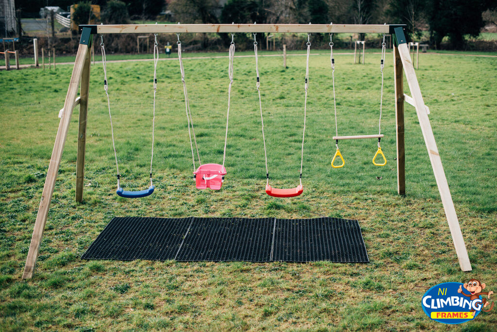 Heavy Duty Playground : Heavy duty quad wooden swing set pressure treated quot post