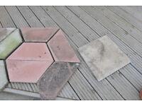 Half Hexagonal Garden Pavers + Square Pavers .