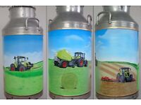 Churn, Hand Painted, Farm Scene with Claas Machinery