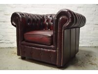 Antique Red Leather Chesterfield Club Chair (DELIVERY AVAILABLE)