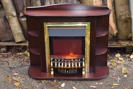 Real flame Electric Fan Heater with Wooden Mantlepiece Surround