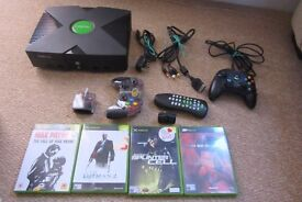 Original XBOX console with harddrive, 4 games, 2 x controllers