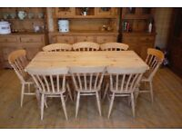 Beautiful rustic farmhouse solid waxed pine scrub top table and 8 chairs