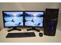 "GAMING PC Set i3- 2.9GHZ 8GB DDR3 1TB 1GB GDDR3 GT710 WIN7 2 x 19"""