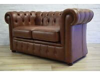 Dark Tan Leather Chesterfield Two Seater Sofa (DELIVERY AVAILABLE)