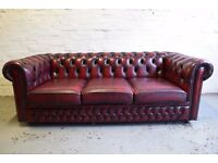 Antique Red Chesterfield Sofa Bed By Saxon (DELIVERY AVAILABLE)