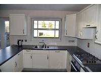 White Satin Kitchen including; sink, oven, hob (gas), dishwasher & fridge