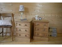 Farmhouse rustic solid waxed pine bedside tables bedside cabinets Chest drawers