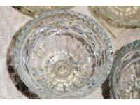 Set of 6 Vintage 1950s Glass Sundae/Trifle/Grapefruit Dishes, Square Base, (2 sets available),Histon