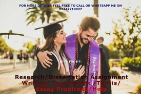 Research/Dissertation Assignment Writing/ Coursework /Thesis/ Essay Proofread/Help