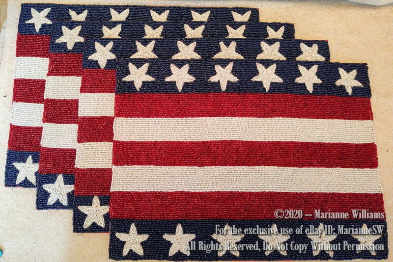 4 NEW BEADED PLACEMATS FOURTH 4th of JULY TABLE MAT PATRIOTIC RED WHITE BLUE