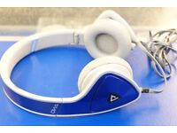 Monster DNA On-Ear Headphones Dual audio input Jack Blue & Grey noise isolation