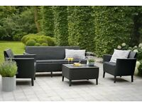 Garden Furniture Set Palermo 3 Seater Sofa 2 Chairs Table