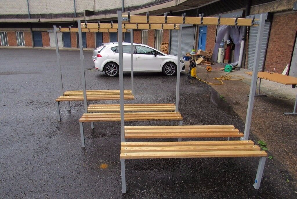 Double Changing Room / Locker Room Benches With Hanging Hooks