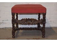An upholstered top stool, on bobbin turned supports and stretcher (DELIVERY AVAILABLE)