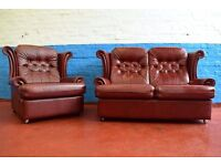 Reid's Red Leather Two Seater Sofa With Armchair (DELIVERY AVAILABLE)