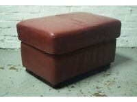 Red Leather Footstool (DELIVERY AVAILABLE)