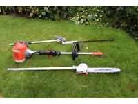 mitox 28lh petrol long reach hedge trimmer and chainsaw