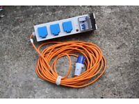 3-Way Caravan Camping 13m RCD Hook Up Extension Lead