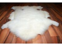 New Luxurious Organic Sheepskin Rug White With Spots XL