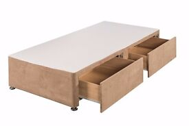"children's 3/4 length suede finish bed with drawers incl 9"" deep mattress and headboard"
