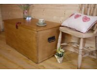 Antique large solid pine chest trunk ottoman waxed pine storage box coffee table