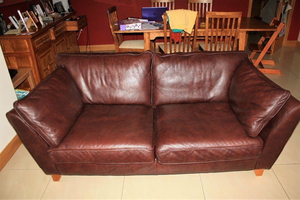 M S Barletta Medium Brown Leather Sofa
