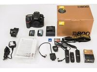 Nikon D800 36.3MP Digital SLR Camera - Black (Body Only). Boxed, LOW SHUTTER COUNT