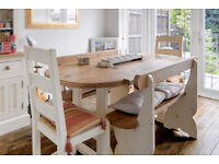 Dining Table • 2 Chairs • 2 Benches • Bespoke • Distressed • Rustic • Hand Painted • Farmhouse