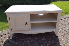 White destressed TV unit