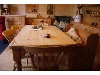 Farmhouse rustic solid waxed pine table and chairs with antique church pew bench