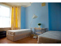 Furnished double - twin bedroom in Hackney, Homerton. Available now. 2 weeks deposit only.
