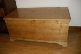 PINE BOX/TRUNK/CHEST-ANTIQUE WITH GREAT STORAGE FOR TOYS ETC