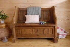 farmhouse rustic solid waxed pine pew storage bench settle, wooden hall seat