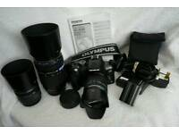 Olympus Evolt e-510 10MP DSLR Camera 14-42mm,40-150mm&70-300mm lens and more £300