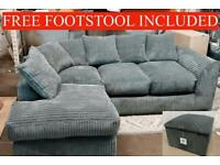 🚛FREE DELIVERY🚛BRAND NEW JUMBO CORNER SET WITH FREE MATCHING FOOTSTOOL INCLUDED✅