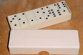 Vintage White Dominoes Complete Set in Original Box / Case, Excellent Condition, Histon