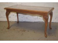 walnut glass topped coffee table (DELIVERY AVAILABLE)
