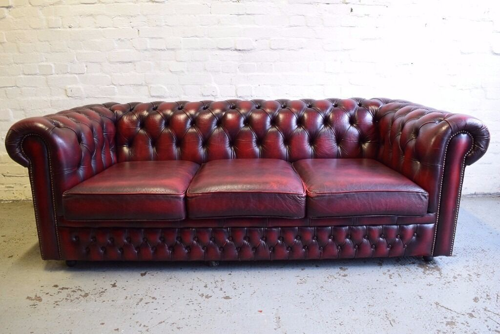 Antique red chesterfield sofa bed by saxon delivery for Sofa bed glasgow