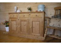 Farmhouse rustic solid waxed pine sideboard dresser cupboard cabinet chest unit