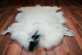 New Organic Sheepskin Rug White With Spots L/XL