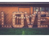 BRISTOL HIRE: 5ft Illuminated LOVE letters in RUSTIC TIMBER or CLASSIC WHITE!