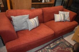 2 x Large / four seater sofas in burnt orange textured fabric - Carlisle - can deliver