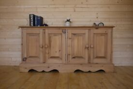 Farmhouse solid waxed pine sideboard shoe cabinet hall cupboard chest media unit