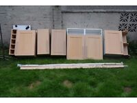 5 USED KITCHEN WALL UNITS LIGHT OAK BROWN DOORS 2 x 1m , 30 cm , 40 cm , 50 cm