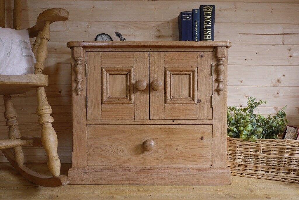 Beautiful farmhouse rustic waxed pine tv media cupboard unit.